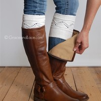 cable knit boot cuffs make cooler weather look adorable