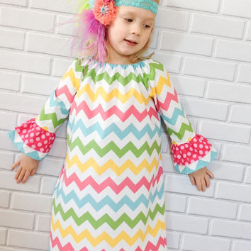 Girls Dress Easter Valentines Day Chevron Pink Boutique Clothing By Lucky Lizzy's