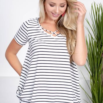 Pipa Striped Ivory Top