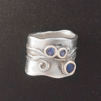Wide Band Ring CUSTOM - Coachella Ring - Custom Ring - Blue Spinel Ring - Silver Wide Ring - Wide Silver Band Ring - Silver Clay Ring