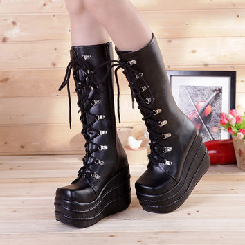 Performance Cheap Double Platform Shoes Woman Boots Punk Hippies Lolita Personality Japanese Style Emo Half Knee High Sequined