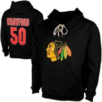 Old Time Hockey Corey Crawford Chicago Blackhawks Current Player Malcolm Skate Lace-Up Name & Number Pullover Hoodie - Black