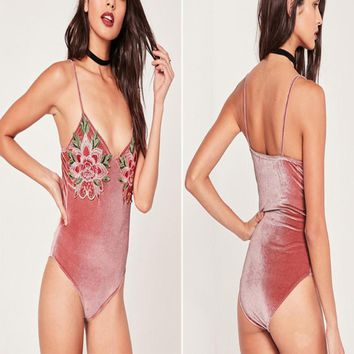 Keep Dreaming Velvet Rose Body Suit