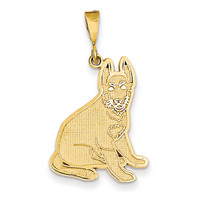 14k German Shepherd Pendant K3395
