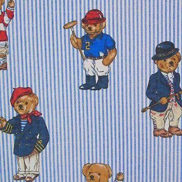 DCK7YE Ralph Lauren Polo Teddy Bear Blue Striped Queen Flat Sheet Vintage Bears Retired
