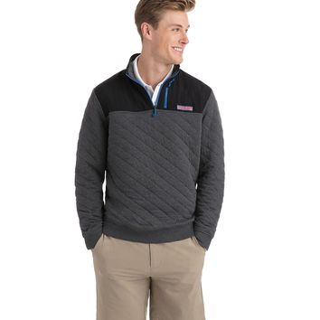 Vineyard Vines, Quilted 1/4-Zip Shep Shirt, Charcoal Heather