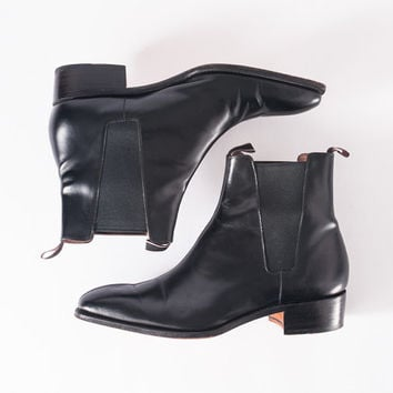 Vintage Paul Smith Black Rocker Ankle Boots: 1980s Designer Leather Shoe Boots, Punk Fashion Chic