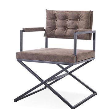 Modrest Cosme Modern Brown Leatherette Dining Armchair