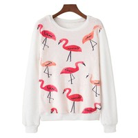 Flamingo Printed Fluffy Sweatshirt
