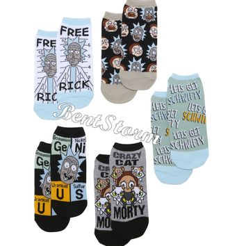 Licensed cool Rick And Morty Schwifty Crazy Cat No-Show Ankle Socks 5 Pair Pack Adult Swim NEW
