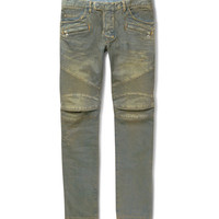 Balmain - Slim-Fit Distressed Denim Biker Jeans | MR PORTER