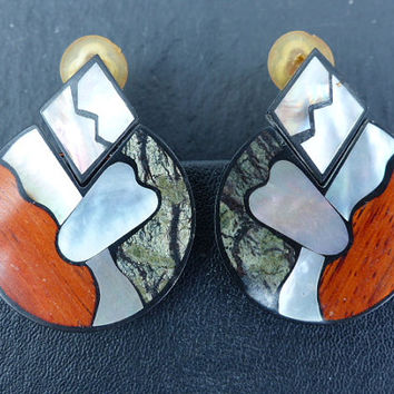 Vintage 1970s - Large Plastic Disc Clip-on Earrings with Wood, Mother of Pearl and Agate Veneers