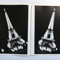 Vintage Victor Skrebneski Eiffel Tower 1 & 2 Book Plates 60 | 61 PARIS City of Lights Night Architectural France Landmark Parisian BW Photos