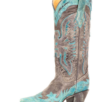 Corral Women's Black/Turquoise Crater Eagle Boot - R2266