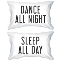 Bold Statement Pillowcases 300-Thread-Count Standard Size 21 x 30 - Dance All Night Sleep All Day