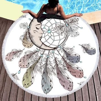 Moon and Dream Catcher Tassel Mandala Tapestry Round Beach Towels