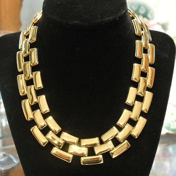 1980s Anne Klein Necklace Choker AK High Fashion Designer Chunky Chain Link Runway Couture Lion Head Emblem Signature Gold Tone Necklace