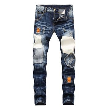Men Slim Ripped Holes Jeans [1574710739037]