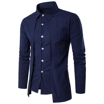 2018 New Design Cotton Pure Color White Business Formal Dress Shirts Casual Evening Party Men Fashion Long Sleeve Social Shirt
