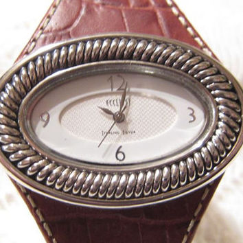 Genuine Leather Band Sterling Silver Ecclissi Woman's Watch