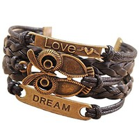 Ocaler®Retro PU Leather Bracelet Wristlet Bangle Wrist Band Decoration Ornament with Owl Pattern Decor for Women