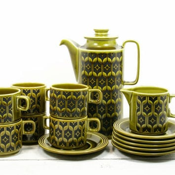 Hornsea Pottery Heirloom Avocado Green Coffee Set
