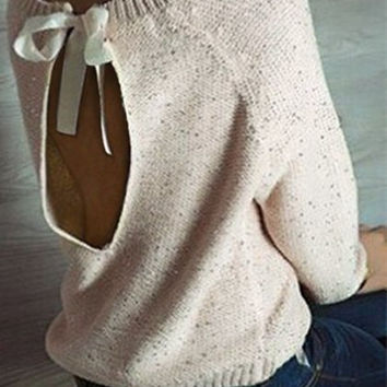 Casual Scoop Neck Backless Long Sleeve Sequines Sweater