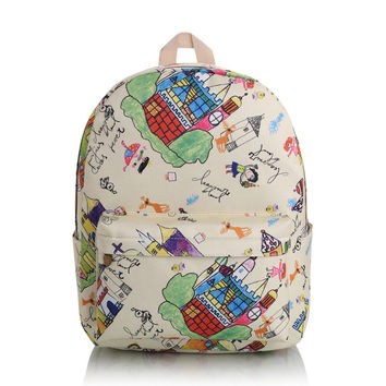 Cute Lovely Canvas Casual Korean Backpack = 4887573636