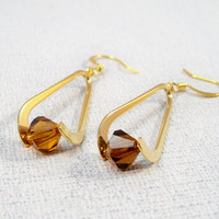 Gold and Topaz Drop Earrings | Gold Plate Earrings | Gold Womens Earrings