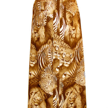 Safari Exotic Animals Printed Maxi Skirt