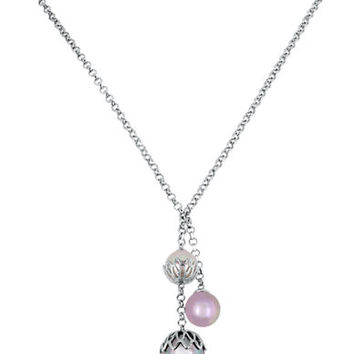 Majorica Sterling Silver and Pearl Trio Necklace