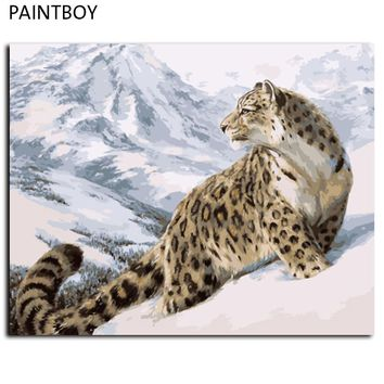 Leopard Wall Art  Framed Pictures Painting By Numbers DIY Digital Oil Painting On Canvas Home Decor For Living Room GX7471