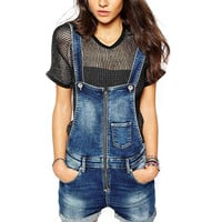 Washed Denim Suspender Jumpsuit