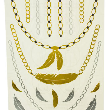 Metallic Temporary Tattoos Feathers and Chain Set -Single Sheet Assorted Styles Bracelets, Necklaces, and Popular Symbols