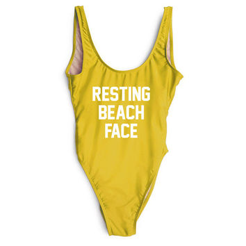 RESTING BEACH FACE One Piece Bathing Suit