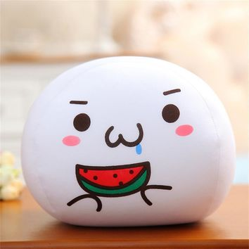 Eating Watermelon - White Emoji Pillow