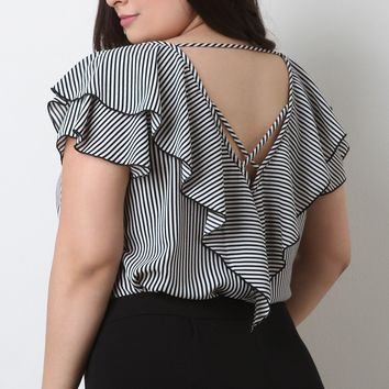 Striped Ruffled Strappy Back Flutter Sleeves Top