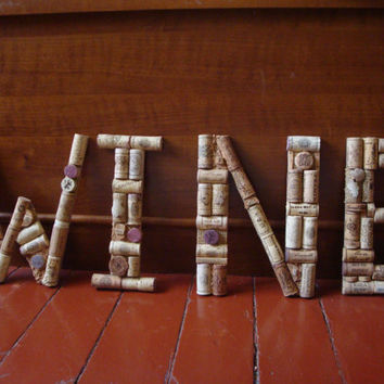 """Hand Crafted """"WINE"""" Letters of Wine Corks / BEST PRICE / Made to Order"""