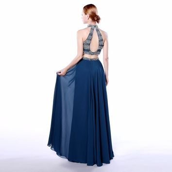Fashion Chiffon Halter A Line 2 Piece Long Prom Dresses Open Back Sleeveless Beading Floor Length Prom Dress