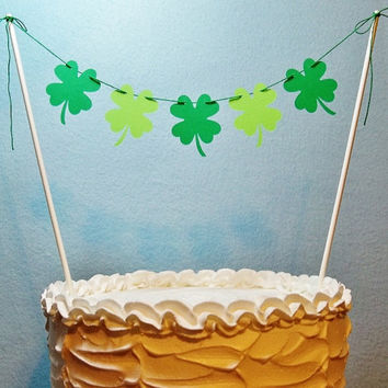 Shamrock Cake Topper Garland, Irish Wedding Bunting, St. Patrick's Day, March Birthday Banner