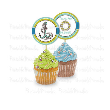 "Nautical party decoration / Printable sea theme cupcake toppers / Digital nautical boy birthday tags Custom under the sea party 2"" 4"" labels"