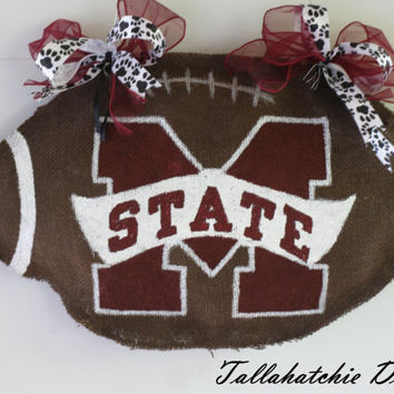 Mississippi State Burlap Football Door Hanger
