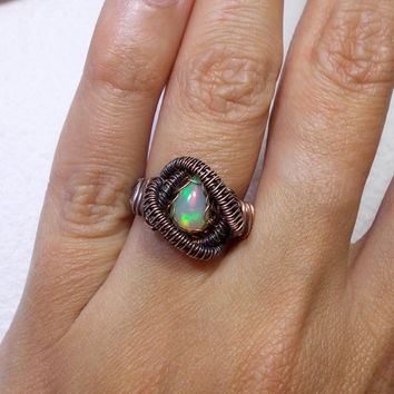 Ethiopian Opal Teardrop Copper Ring, Rustic Wire Wrapped Ring