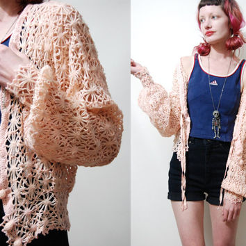 60s / 70s Vintage CROCHET Cardigan Jacket PASTEL Knit Knitted Sweater Wool Soft Grunge Femme vtg 1960s 1970s XS