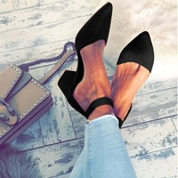 Pointed Strappy Sexy Retro Thick Heel  Shoes