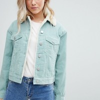 ASOS DESIGN cord jacket with fleece collar in duck egg blue at asos.com