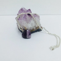 Amethyst heart necklace - silver platted chain chakra stone