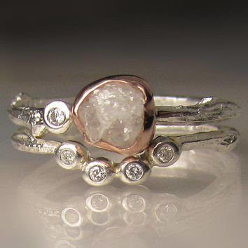 White Raw Diamond Twig Ring, Rough Diamond Engagement Ring, Engagement Set, Sterling Silver and 14k Rose Gold