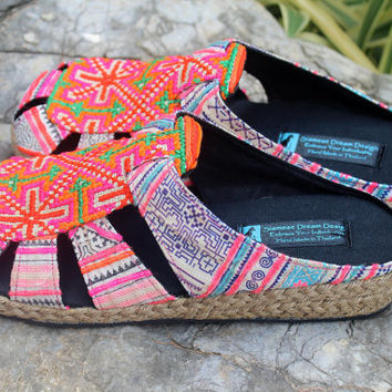 Womens Shoes In Purple Hmong Embroidery Slip On Summer Slides
