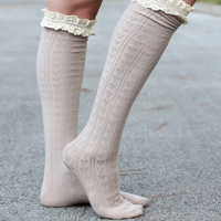 Ruffle Boot Socks - Tan